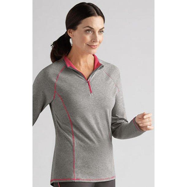 best website fc5d1 a7b68 Sports bluse - grå meleret / flamingo m/bh